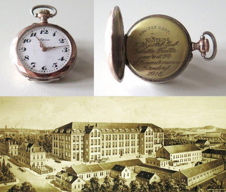 Grossansicht in neuem Fenster: Taschenuhr zum 25. jährigen Firmenjubiläum bei der Zirndorfer Fa Georg Zimmermann im Jahr 1918