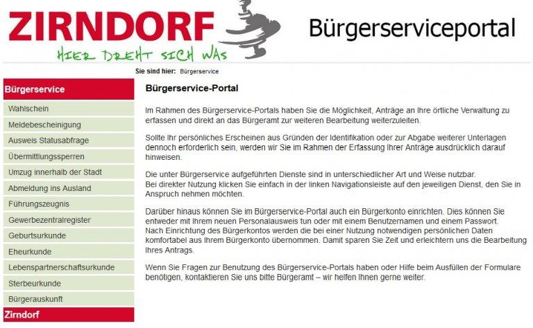 Bürgerserviceportal Screenshot